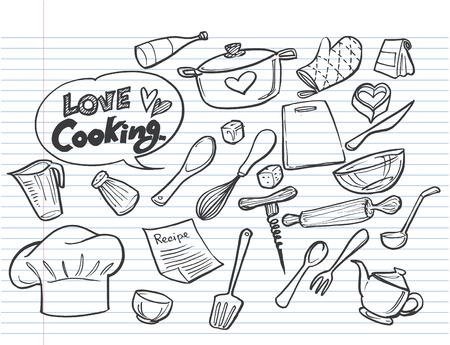 love cooking concept.Poster with hand drawn kitchen utensils.  Ilustração