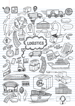 Logistic hand draw Vector illustration.
