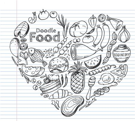 Food doodles set, Hand drawn Icons set in the shape of heart