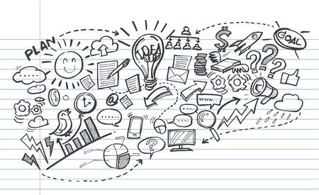 Business doodles Vector illustration.
