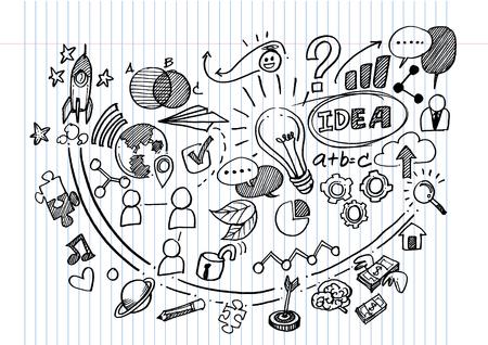 Vector Hand Drawn Business background,Doodles vector illustration. Ilustração