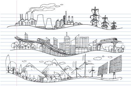 Vector hand drawn Illustration. Green world concept, Ecology doodles icons.  Ilustração
