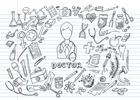 Hand drawn medicine icon set. Medical sketched collection. Healthcare, pharmacy doodle icons. Vector illustrations. Ilustrace