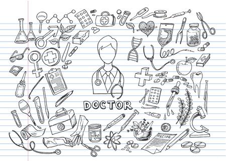 Hand drawn medicine icon set. Medical sketched collection. Healthcare, pharmacy doodle icons. Vector illustrations. Ilustração