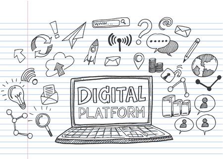 Hand draw business doodles digital platform,Drawn in black ink on white background