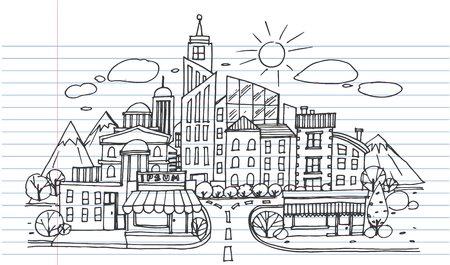 Hand drawn City Sketch for your design,Drawn in black ink on white background Ilustrace