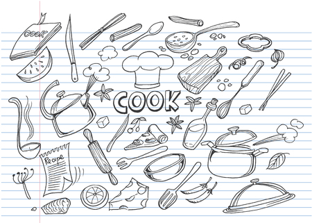 Hand drawn doodles of Cook concept.Poster with hand drawn kitchen utensils.