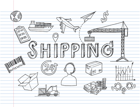 Logistic concept with sketch delivery and shipping decorative icons on white background .-vector illustration