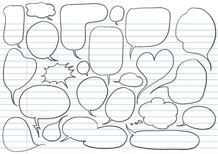 Comic speech bubbles in doodle style isolated on white background Ilustrace