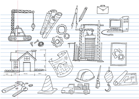 Under Construction Design Element,Hand-drawn cartoon industry icon set. Doodle drawing. Vector illustration.