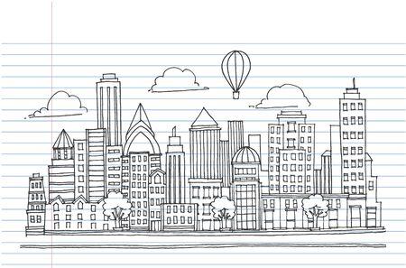 Hand drawn City Sketch for your design,Drawn in black ink on white background Ilustração