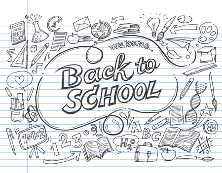 Back to school pattern on white background,Text message,Hand drawn, Creative education concept