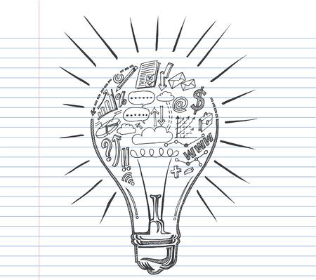 Lightbulb ideas concept doodles  Ilustração