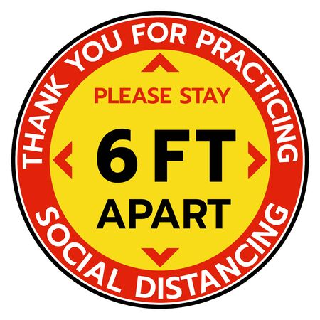 Thanks You For Practicing Social Distancing Floor sticker Sign,Social distancing. Footprint sign. Keep 6 Feet Apart Reminder Sign. Coronavirus epidemic protective.-Vector Ilustração Vetorial