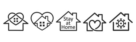 Set of coronavirus Minimal, modern and simple stay home symbol on white background. Quarantine movement support, stay home distancing measures to prevent