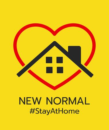 Logo of New normal, Stay at home and stay safe.-vector Illustration Vettoriali