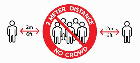 Vector of No crowd sign, keep 2 meters distance,Social distancing concept. protection from Covid-19. Wall warning sign, floor sticker for public place to prohibit crowds, reduce risk.