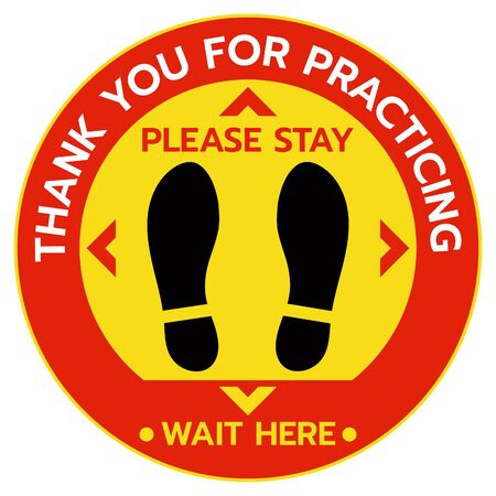 Thanks For Practicing Social Distancing Floor sticker Sign,Social distancing. Footprint sign. Keep the 6 feet or 1-2 meter distance apart. Coronavirus epidemic protective.-Vector illustration Vektorgrafik