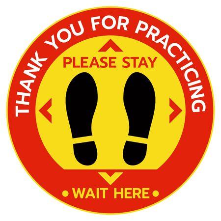Thanks For Practicing Social Distancing Floor sticker Sign,Social distancing. Footprint sign. Keep the 6 feet or 1-2 meter distance apart. Coronavirus epidemic protective.-Vector illustration Vektoros illusztráció