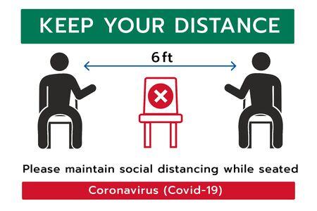 Gardez votre signe de distance,Distanciation sociale,Veuillez ne pas vous asseoir ici pour éviter la pandémie de coronavirus ou de Covid-19,Distance sociale de 6 pieds pour le siège de la chaise Vecteurs