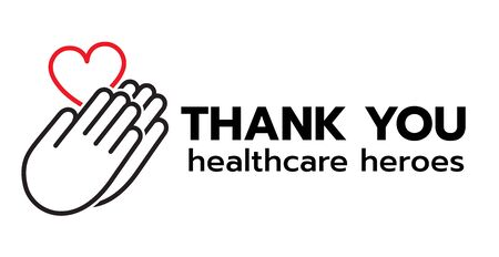 Thank you to all healthcare heroes- doctors, nurses, workers fighting coronavirus gratitude message, Lettering Illustration design  イラスト・ベクター素材