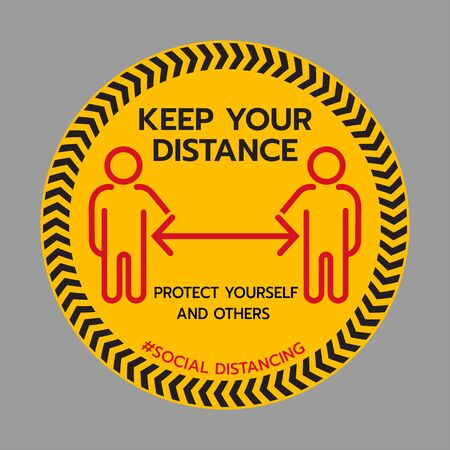 Keep Your Distance sign. Stop Wait Here Floor Sticker. Social Distancing Warning Sticker. Vector Text Illustration Background.
