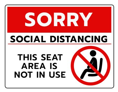Do not sit Sign.Do not seat area warning signs. Forbid or forbidden seating down icons. Keep Social distancing for covid-19 or Coronavirus outbreak Ilustración de vector