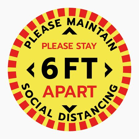 Thanks You For Practicing Social Distancing Floor sticker Sign,Social distancing. Footprint sign. Keep 6 Feet Apart Reminder Sign. Coronavirus epidemic protective.-Vector Vector Illustration