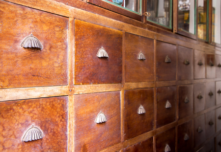 Exceptionnel Chinese Medicine Cabinet Wooden In The Old Herbal Medical Shop. Stock Photo    95159103