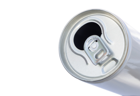 open a Canned beverage isolated on white background. Closeup of canned drink pull tab opening. Stock Photo