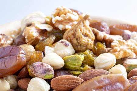 Dried fruits mix and variety of nuts.  Archivio Fotografico