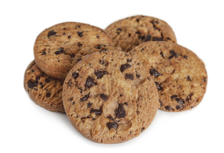 Chocolate chip cookies on white table background. Copy space for your text or image. Standard-Bild