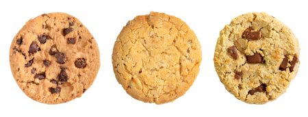 Different chocolate chip and oat cookies isolated on white background. Archivio Fotografico