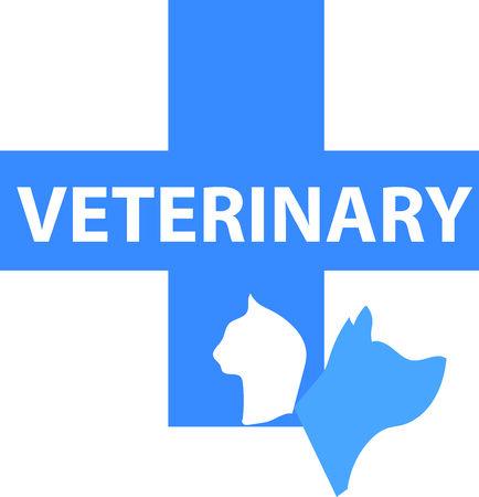 Blauwe veterinair embleem met hond en kat silhouet Stock Illustratie
