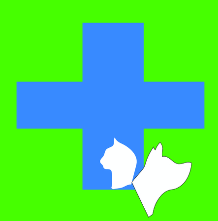 Blue veterinary logo with dog and cat silhouette and green background