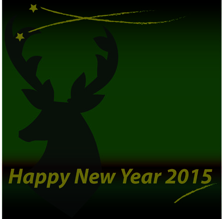 green background with silhouette of reindeer in theme happy new year stock photo 32753690