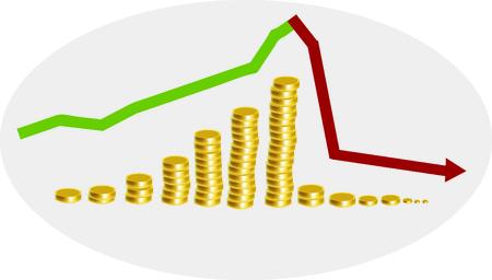 A graph represents the economic crisis