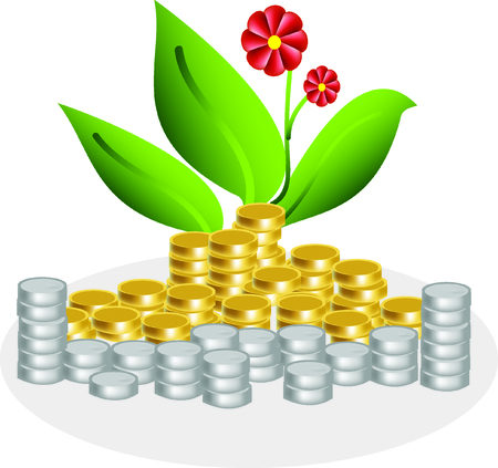 piles of golden and silver coins  and flowers with concept of wealthy and cheerful Ilustracja