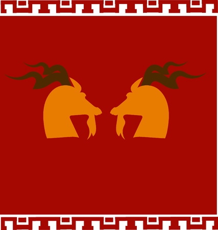 caprine: Double goats with red background and Chinese style Illustration