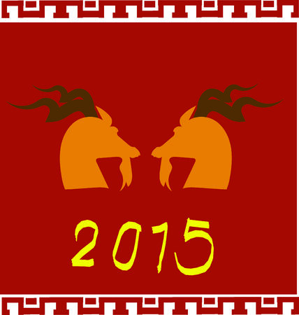 caprine: Red background with golden goat-2015 year of the goat