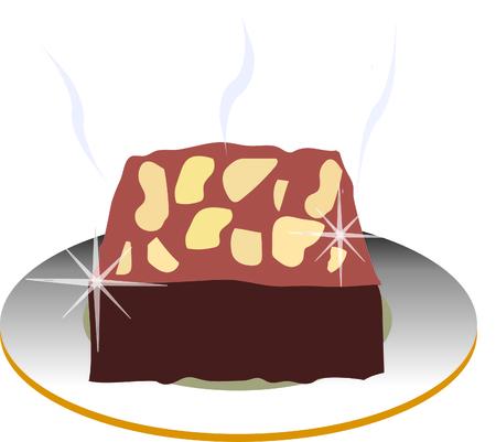 brownie: fresh baking brownies white background
