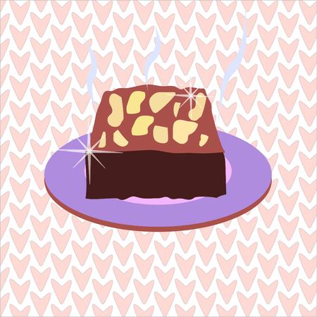 brownie: fresh baking brownies sweet pink background