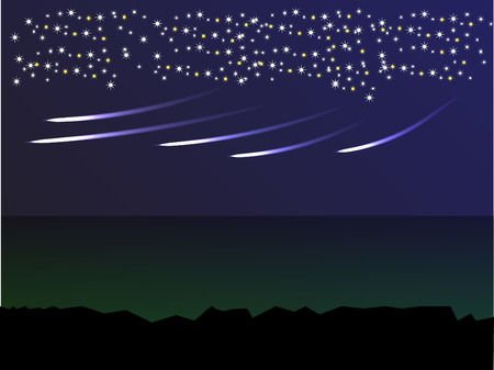 meteor in the dark blue sky with hundreds of stars Illustration