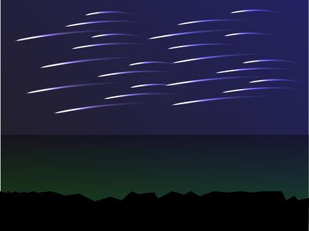 meteor in the dark blue sky