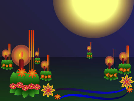 bangkok night: Festival of Loi Krathong in Thailand, Full moon 12th month festival Illustration