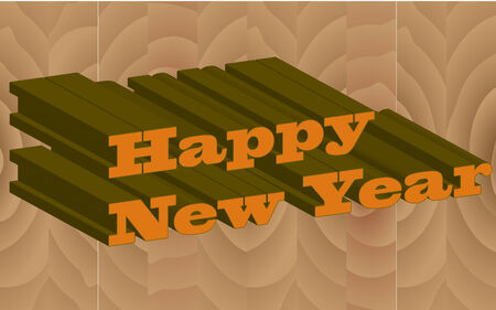 Happy New year with wooden background