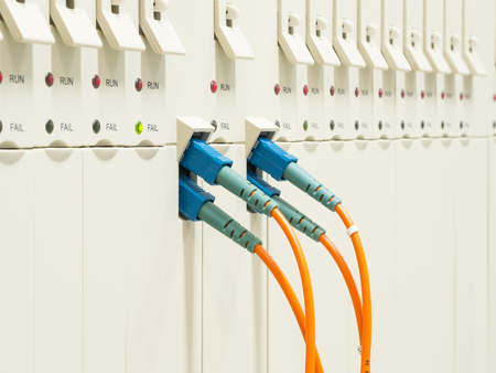 optic fiber cables connected to transmission Controler