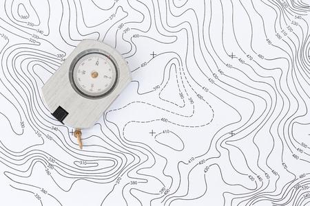 topographic: Compass on Topographic Map. Stock Photo