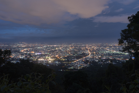 chiangmai: City  from the view point on top of mountain in twilight time, Chiangmai ,Thailand