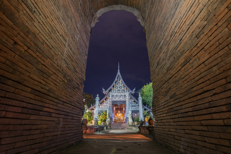 Entrance to the ancient Buddhist monaster, Wat Lok Molee Chiang mai Thailand.